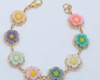 FREE SHIPPING Pink Blue green Blossom flower Bracelet bridesmaids brides weddings shabby chic vintage style girly