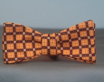 Orange and Black Checker  Bow tie