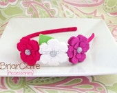 Tenley -  Felt Petunia Trio Thin Classic Headband (many colors available)