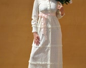 1970s Hippie Boho Ivory Lace Vintage Wedding Dress - Hippie, Bohomian, Victorian, Festival