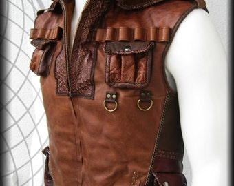 Indiana Jones Brown Leather Vest with Many Pockets, custom logo, detaching hood