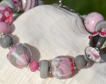BOUTIQUE-Handmade Lampwork and Sterling Silver Bracelet