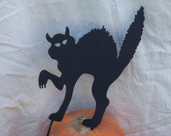 Scary Halloween Cat Pumpkin Stake