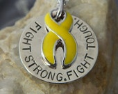 Fight Strong. Fight Tough. Handstamped Awareness Ribbon Necklace