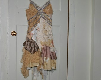 upcycled clothing . S . wearable art romantic tattered dress . sycamore