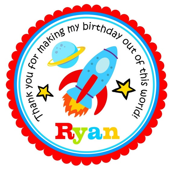 Rocket Ship Stickers, Rocket Ship Party, Personalized Labels, Astronaut Birthday Party - set of 12
