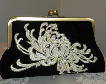 Embroidered Chrysanthemum  Clutch/Purse/Bag..Bridal/Wedding Gift..Black Silk Kimono fabric..Free Monogram..Gold/Ivory