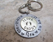 Key Chain For New Daddy with Baby Feet, Birth Date, and Baby's Name  plus I love Daddy