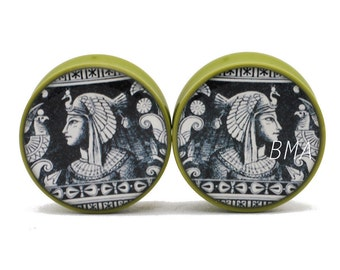 "5/8"" Egyptian Wall Etching Moss Green BMA Plugs (16mm)"