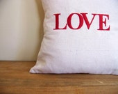 Love EMBROIDERED valentines pillow cover - red -valentines day gift  - home decor - holiday home decor - personalized pillow - decorati