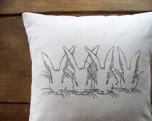 bunny pillow cover- rabbit pillow - easter pillow - rabbits - easter decoration - bunnies - spring - nursery - gray - linen- chi