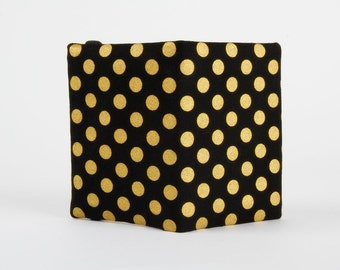 Fabric card holder - Metallic golden dots on black / Yellow gold / Modern minimalist / Glitter dark / Geometric / Classy