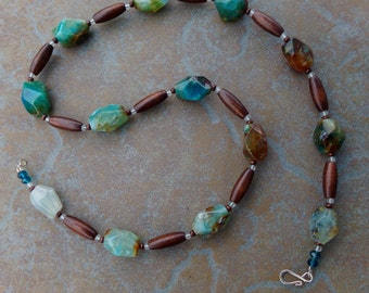 Geometric Blue and Green Agate Chunky Necklace. Brown Wood Fall Necklace