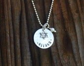 Personalized Bat Mitzvah Necklace with Star of David Charm Sterling Silver - Bat Mitzvah Jewelry Bat Mitzvah Gift Hanukkah Gift