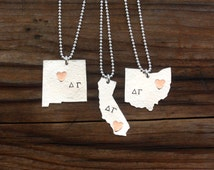 Delta Gamma Necklace - State Necklace, Sterling Silver & Copper Sorority Jewelry, Big Sis Lil Sis Bid Day Initiation