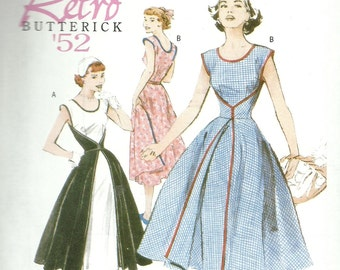 BUTTERICK PATTERN B4790, retro throwback of 1952, Butterick, new and uncut, ladies' summer dresses, sizes 16, 18, 20, and 22