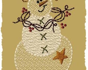 Flakes Snowman-Primitive Machine Embroidery Design~Version 1--(4x4)-INSTANT DOWNLOAD