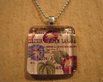 """Morning Glory Floral Square Glass Pendant with 24"""" Ball Chain Necklace Floral Jewelry"""