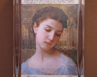 Jane Austen Regency Portrait Collage Large Rectangle Glass Paperweight English Home Decor