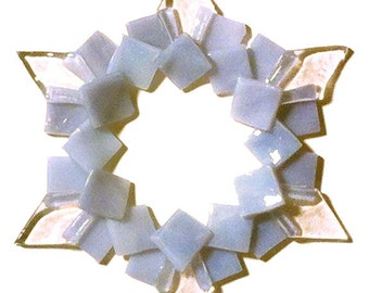 Kiln-formed Glass Snowflake Ornament: periwinkle gray, iridized clear