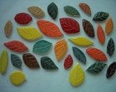 W29 - 29 pc Beautiful FALL Leaves - Ceramic Mosaic Tiles