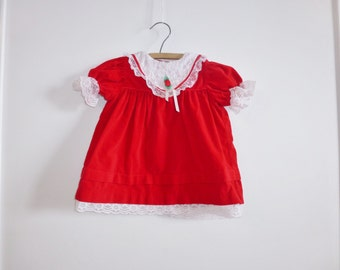 Vintage Red Velveteen Baby Dress