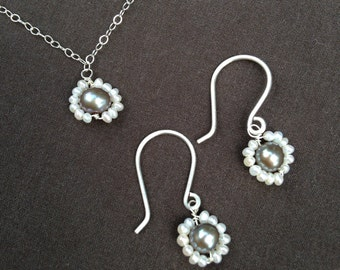 Grey and white pearl flower set, grey and white pearls, grey pearl earrings, grey pearl necklace