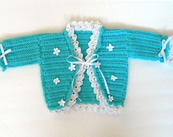 ON SALE: Turquoise cardigan sweater for baby girl size 0-3 months - Marie Antoinette style