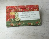 Quilted Fabric Postcard - Log Cabin Pattern - Gratitude