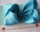 INVENTORY BLOWOUT SALE---School Cheer Bow X X-Large 7 Inch Hair Bow---Turquoise---Ready to Ship---