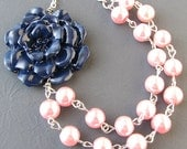 Flower Necklace Bridesmaid Jewelry Navy Blue Necklace Pink Jewelry Pink Necklace Beaded Necklace Gift For Her