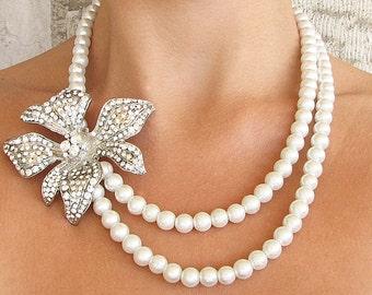 Wedding Jewelry Bridal Necklace Bridal Jewelry Orchid Necklace Wedding Necklace Pearl Necklace Crystal Necklace