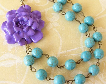 Flower Necklace Bridesmaid Jewelry Purple Necklace Turquoise Jewelry Statement Necklace Beaded Necklace