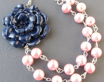 Beaded Necklace Flower Necklace Bridesmaid Jewelry Navy Blue Necklace Pink Jewelry Multi Strand Gift For Her