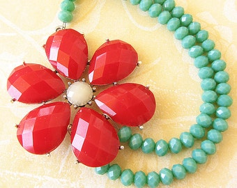 Statement Necklace Flower Necklace Bib Necklace Red Necklace Teal Jewelry Gift For Her Beaded Necklace