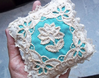 Vintage Handmade Embroidered Sachet Shabby Cottage Chic