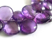 Amethyst Briolette, Heart Faceted Gemstone Beads, MATCHED PAIRS, AAA 6 Pcs, High Quality, Brides, Feburary Birthstone, 11-12mm