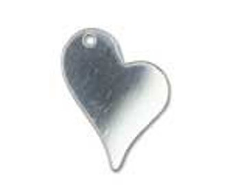 10 pcs, Sterling Silver Blanks Tags Discs Heart Stamping Sequins -13.4x16.4mm 24 ga