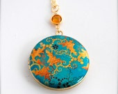Vintage Inspired Locket Necklace with Turquoise and Gold Floral Wallpaper Print