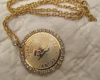 Vintage Aquarius Rhinestone Necklace SALE