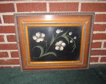 Antique 19c Victorian Folk Art Floral Painting on Tin in Magazine Holder Frame