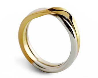LOVE KNOT Two Tone Wedding Band Unique Ring Alternative White