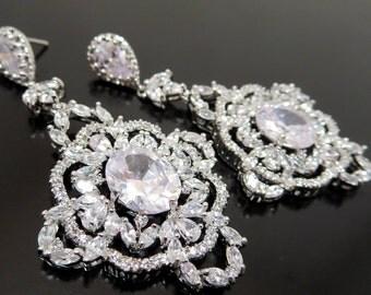 Bridal earrings, Crystal wedding earrings, Bridal chandelier earrings, Statement earrings, Vintage style, Rose gold earrings, MADISON