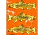 Fish Art, Aquatic Art, Orange Yellow, Digital Print, Bubbles Water, Nautical Swimming, Wall Hanging, Home Decor, Giclee Print 8 x 10
