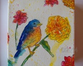 Eastern Bluebird Original Painting, Art, Home Decor