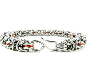 Orange Byzantine - Chainmaille Bracelet