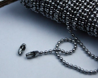 Stainless Steel chain bulk, 50pcs of STAINLESS Antique Silver Ball Chain Connectors Clasps - for 1.5mm ball chain - Insert Type