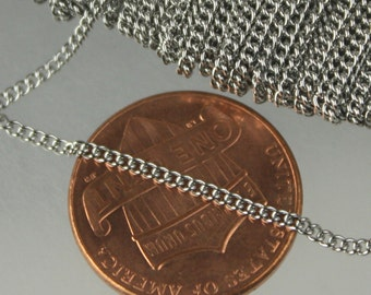 Stainless Steel chain bulk, 10ft spool of Surgical Stainless Steel 316L Sturdy tiny curb chain - 1.45mm Soldered Link