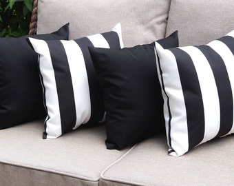 Black And White STUFFED Outdoor Pillows, Solid Black Outdoor Pillow, Black  Stripe Patio Pillows
