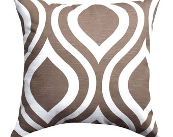 CLEARANCE - Premier Prints Emily Italian Brown and White Ogee Decorative Throw Pillow - Free Shipping
